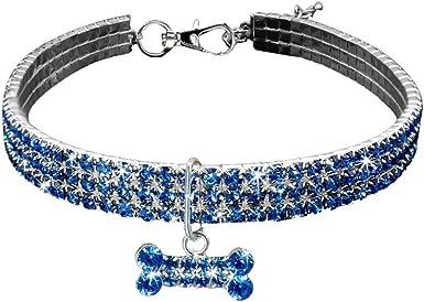 Howstar Pet Collars Rhinestone Crystal Bling Bone Puppy Collar Dog Necklace