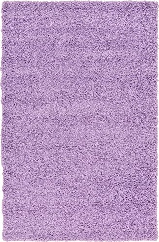 8' Lilac Area Rug - A2Z Rug Cozy Shaggy Collection 5x8-Feet Solid Area Rug - Lilac