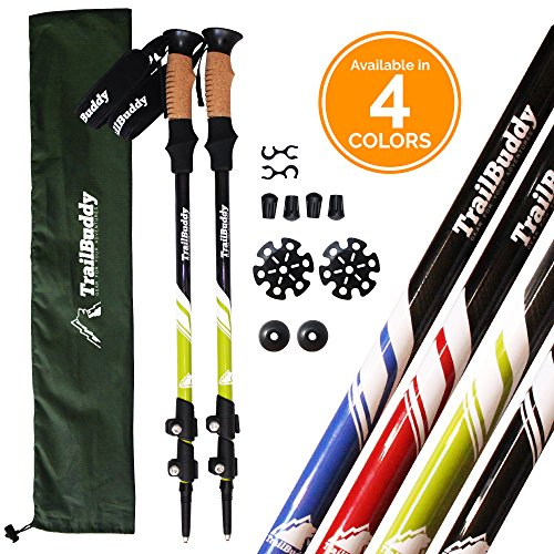 TrailBuddy-Trekking-Poles-2-pc-Pack-Adjustable-Hiking-or-Walking-Sticks-Strong-Lightweight-Aluminum-7075-Quick-Adjust-Flip-lock-Cork-Grip-Padded-Strap