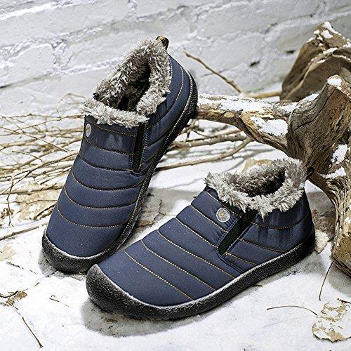 Cior Stivali Da Neve Uomo E Donna Foderato In Pelliccia Inverno Allaperto Slip On Scarpe Stivaletti 2. Blu / Piano Superiore