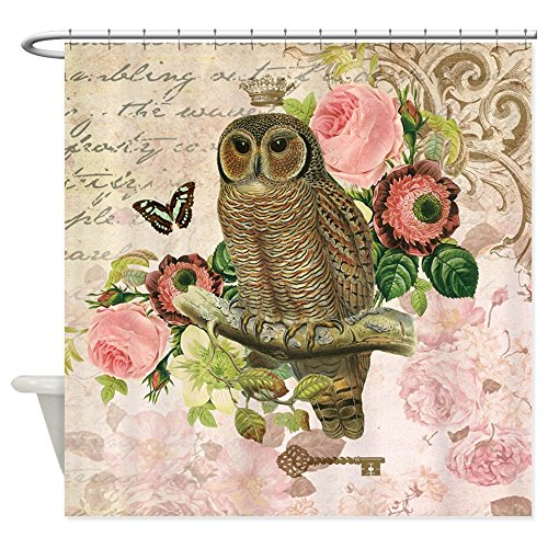 (CafePress Vintage French shabby chic owl Shower Curtain Decorative Fabric Shower Curtain (69