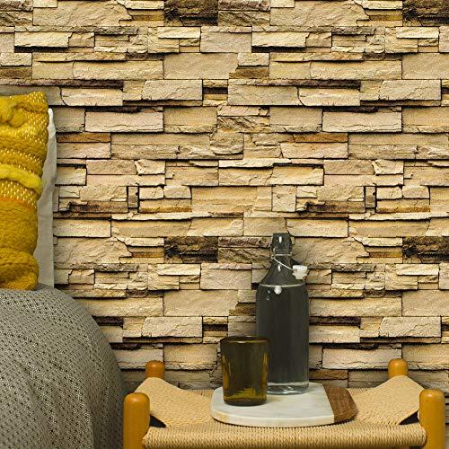 1302 Stone Brick Textured Wallpaper Roll,Beige/Brown Embossed Multi Brick Blocks Wallpaper Murals Bar Home Room Decoration 20.8