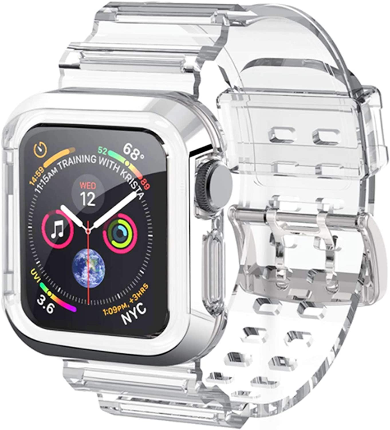 Kaihang Compatible for Apple Watch Band, Crystal Clear iWatch Band Strap with Rugged Bumper Case 38mm 40mm Bands for Apple Watch Series SE/6/5/4/3/2/1