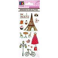 ADESIVO FM C/GLITTER 75X200 MM PARIS C/3 UN, Toke e Crie, AD1710, Multicolorido