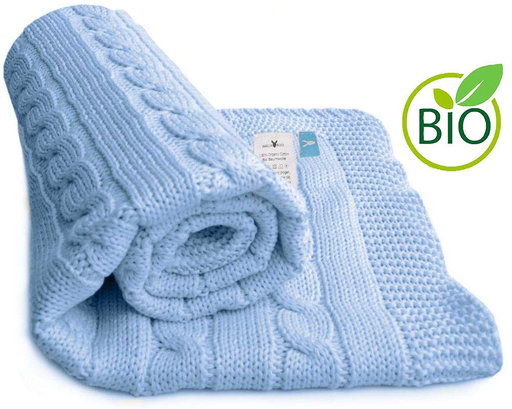 Wallaboo 100 Percent Organic Cotton Sweater Knit Blanket, Noa with Wide Ribbed Border, Sky Blue product image