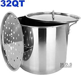 Stock Pot Stainless Steel 32QT Steamer Pot Brew Vaporera Tamalera Tamales New 8 Gal