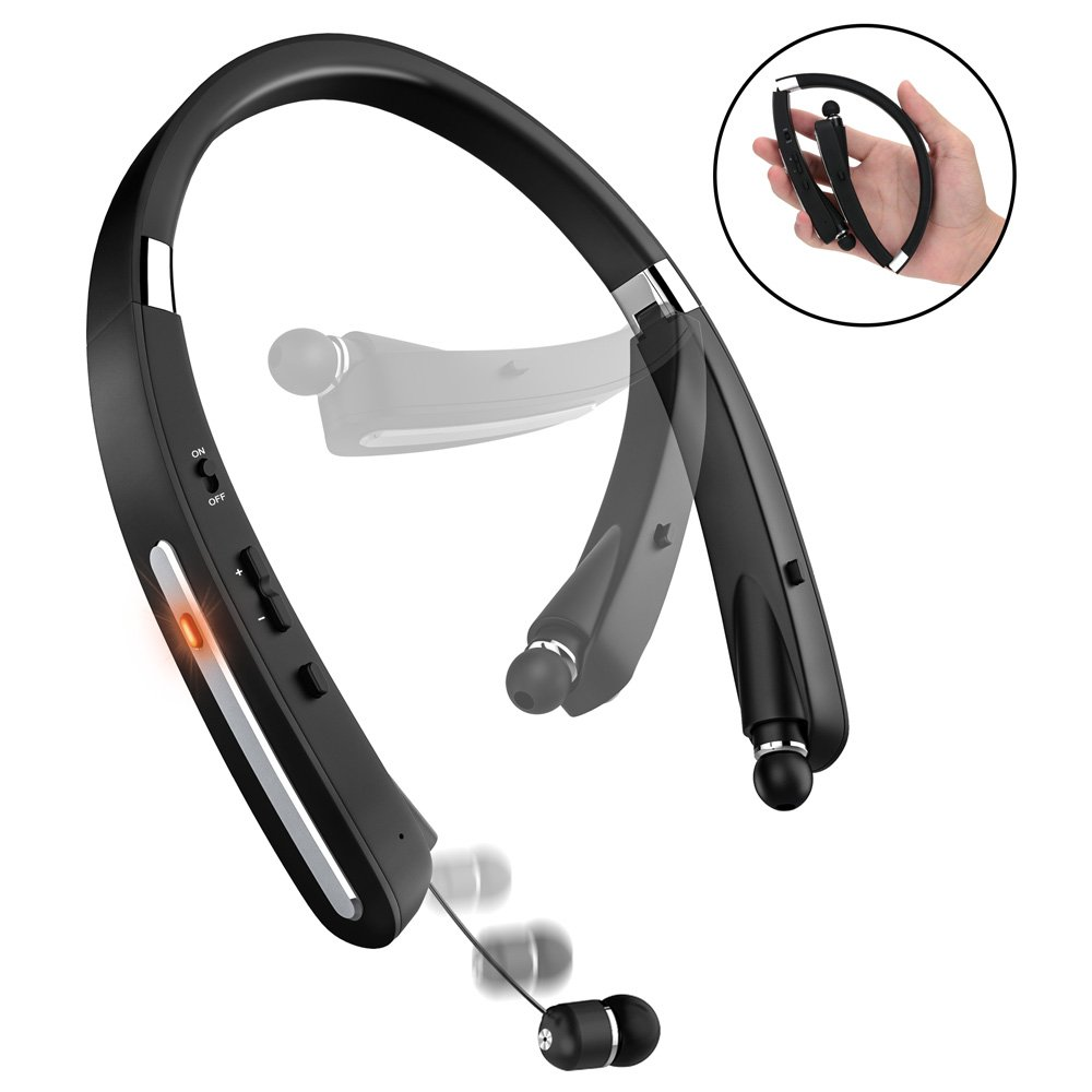 Bluetooth Headset, Bluetooth Headphones-LBell 30 Hrs Playtime Wireless Neckband Design W/Foldable Retractable Headset for iPhone IOS Android Smart Phones [Upgraded Version for SX-991/ KKY-992] (Black) by LBell