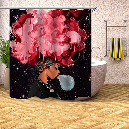 - UniTendo African American Girls 3D Colorful Retro Style Print Waterproof Polyester Shower Curtain with 12 Hooks for Bathroom Decor,72 x 72 inches, Red Hair Afro Beauty.