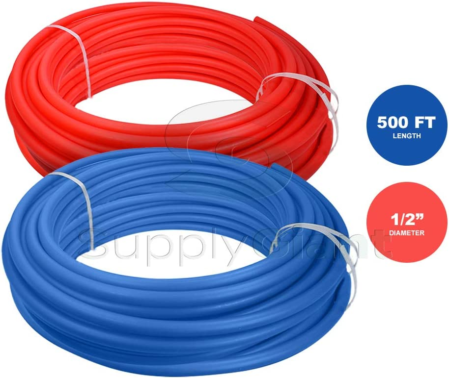 1//2 Inch x 500 Feet Pexflow PXKT-RB50012 PEX Potable Water Tubing Combo Non-Barrier Pipe for Residential or Commercial 1 Red + 1 Blue