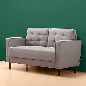 Benton Loveseat Sofa/Grid Tufted Cushions/Easy, Tool-Free Assembly, Stone Grey