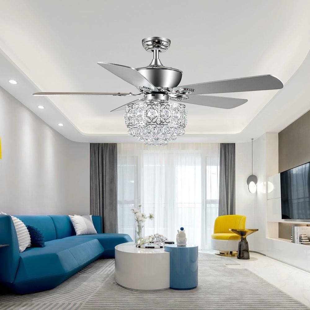 Tropwellhouse 52Inch Crystal Ceiling Fan with Lights 3 Speed Remote Control Elegant Crystal 5 Wood Baldes Chrome Ceiling Fan Decoration Home