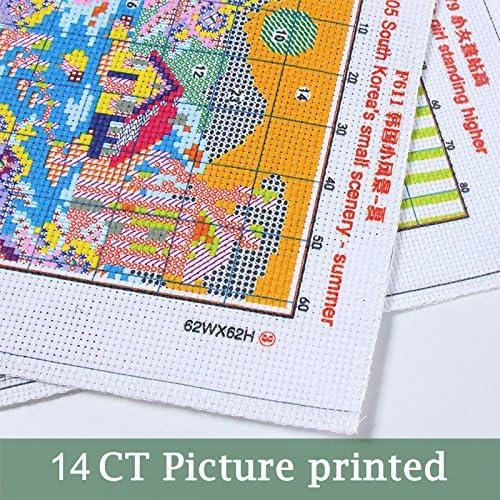 The Happy Baby Elephant 18/×18CM Joy Sunday Cross Stitch Kit 14CT Stamped Embroidery Kits Precise Printed Needlework