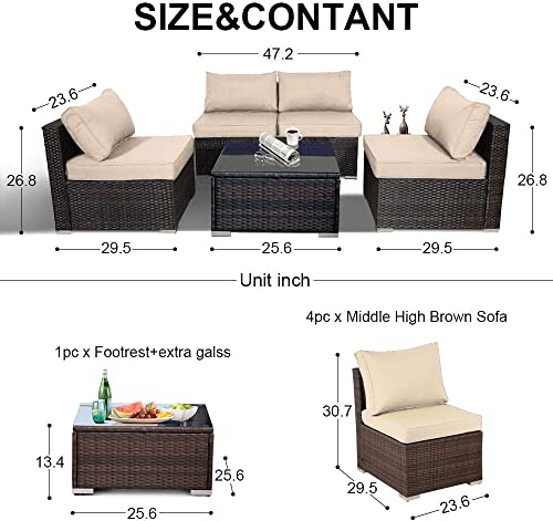 Outime Patio Sofa 5pcs Garden Furniture Outdoor/Indoor Couch Seating Rattan Sofa Set Brown Wicker Khaki Cushion
