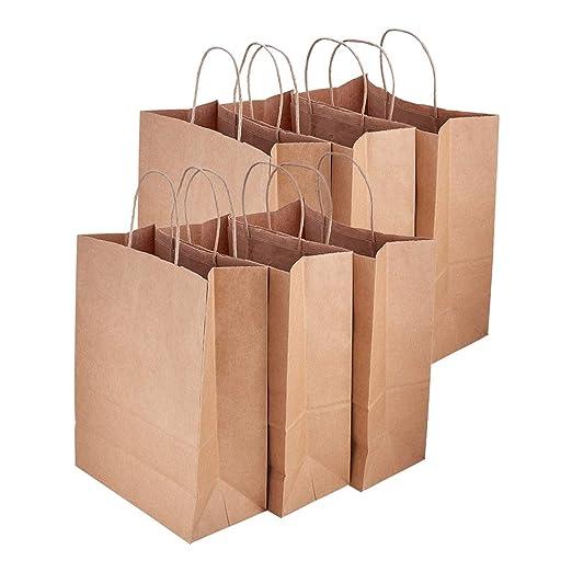PandaHall - Bolsas de Papel Kraft (12 Unidades, 2 tamaños), Brown-15pcs, 10x13x5 Inch