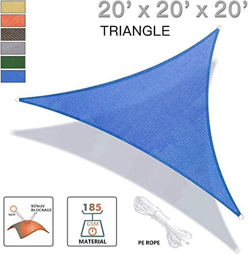 REPUBLICOOL Triangle 20 x20 x20 Blue Sun Shade Sail UV Block Awning Cover for Patio Garden Outdoor Backyard