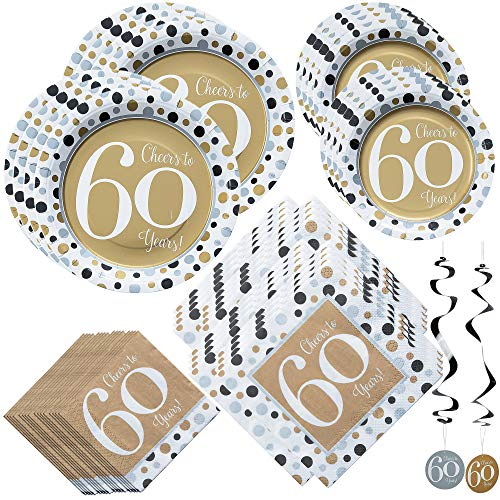 Fun Express Cheers to 60 Years Bundle | Luncheon & Beverage Napkins, Dinner & Dessert Plates, Hanging Swirls | Great for Party Decor, 60th Birthday Party or Anniversary ()