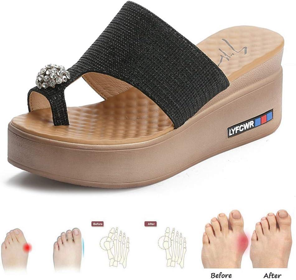 GRASSAIR Sandalias de Mujer, Zapatillas de corrección de Dedo Gordo Zapatillas de Deporte al Aire Libre Zapatillas de Playa de Verano Zapatillas de Viaje de Playa para Mujeres,Black,37: Amazon.es: Hogar