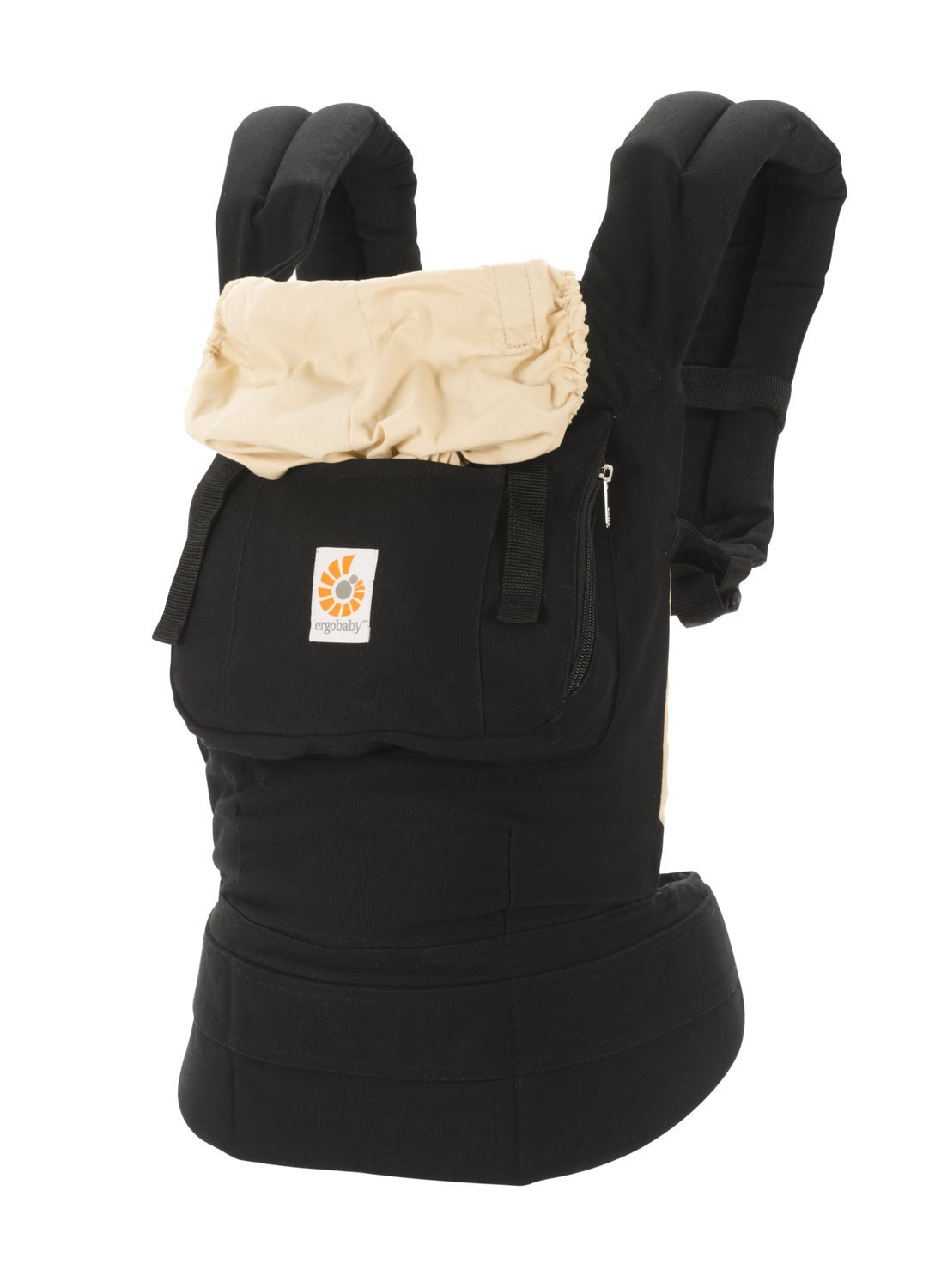 ERGObaby Baby Carrier Toddler Front Back Original Black/Camel, 100% Cotton Ergonomic Child Carrier Backpack BCANBLKCML