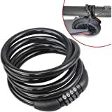 Scooter Lock Cable for Xiaomi Mijia M365 Segway Ninebot, Bicycle Combination Locks Coiled Chain Lock Basic Self Coiling Core Steel Wire 6 ft. Long 1/2 inch