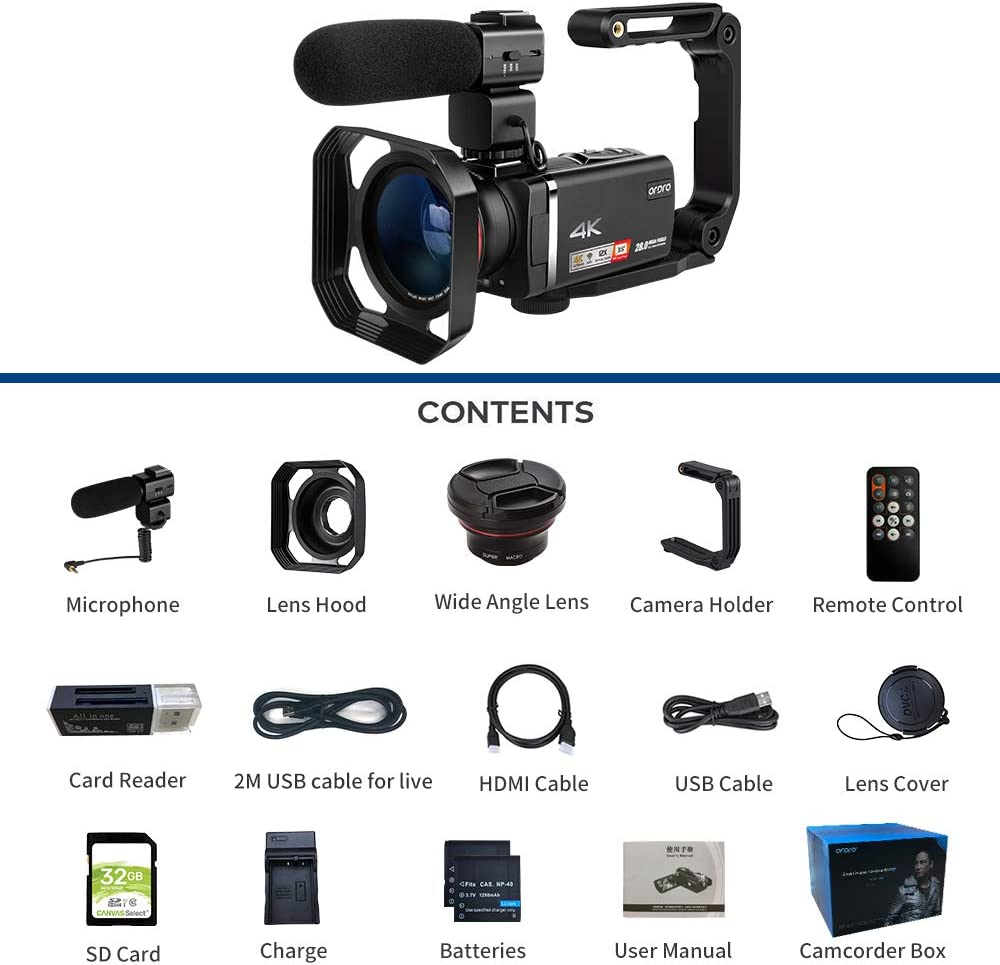 Elektronik & Foto Camcorder Camcorder 4K ORDRO AX60 ...