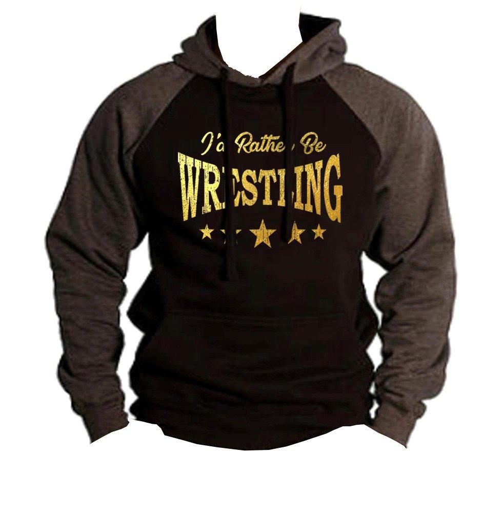 Interstate Apparel Men's Gold Foil I'd Rather Be Wrestling Black/Charcoal Raglan Baseball Hoodie Sweater 2X-Large Black