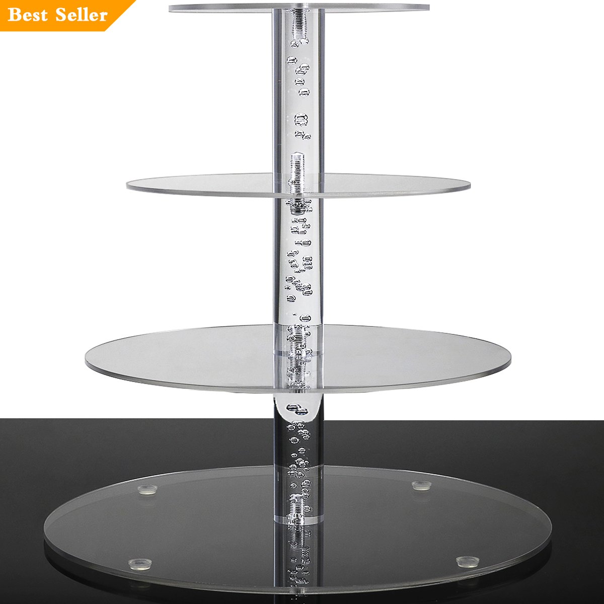 2018 New Style 4 Tiers Cupcake Stands Tower - Clear Acrylic Display Holder Tree - Tiered Cupcake Display- Tiered Round Pastry Stand Dessert Stands Wedding Cake Stands For Parties Birthday - DYCacrlic by DYCacrlic (Image #1)