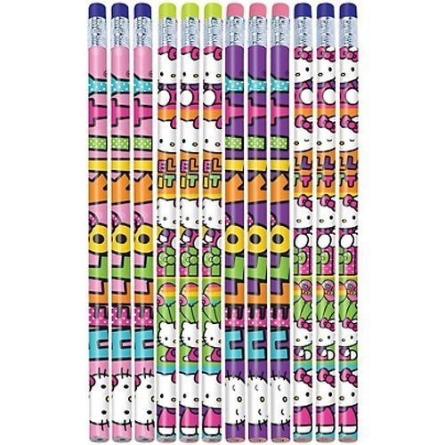 Hello Kitty Pencil - Amscan Hello Kitty Rainbow Pencil Birthday Party Favours (12 Pack), Multi Color, 9.5