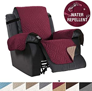 H.VERSAILTEX Recliner Cover Reversible Sofa Slipcover Furniture Protector Anti-Slip Couch Cover Water Resistant 2 Inch Wide Elastic Straps for Pets Kids Dog Cat(Recliner Medium, Burgundy/Beige)