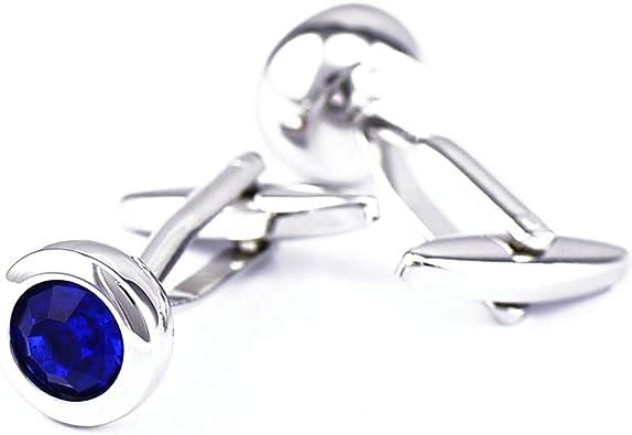 Aienid Gemelo Plata Azul Redondo Cristal Circonita Azul Gemelos para Camisa para Hombre: Amazon.es: Joyería