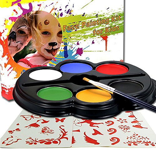 Save 11 Happlee Face Paint Kit For Kids With 25 Stencils 6 Color Palette For Kids Sturdy