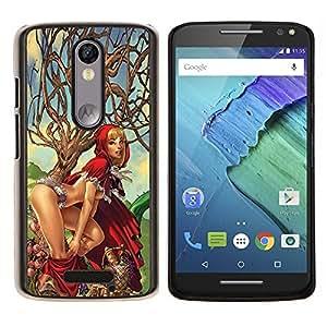 Cubierta protectora del caso de Shell Plástico || Motorola Moto X ( 3rd Generation ) || caperucita roja personaje sexy chica mujer @XPTECH
