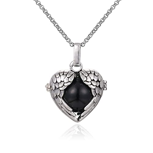 Amazon wing heart mexican bola harmony chime ball angel caller wing heart mexican bola harmony chime ball angel caller pregnancy locket pendant necklace women presents 30quot mozeypictures Choice Image