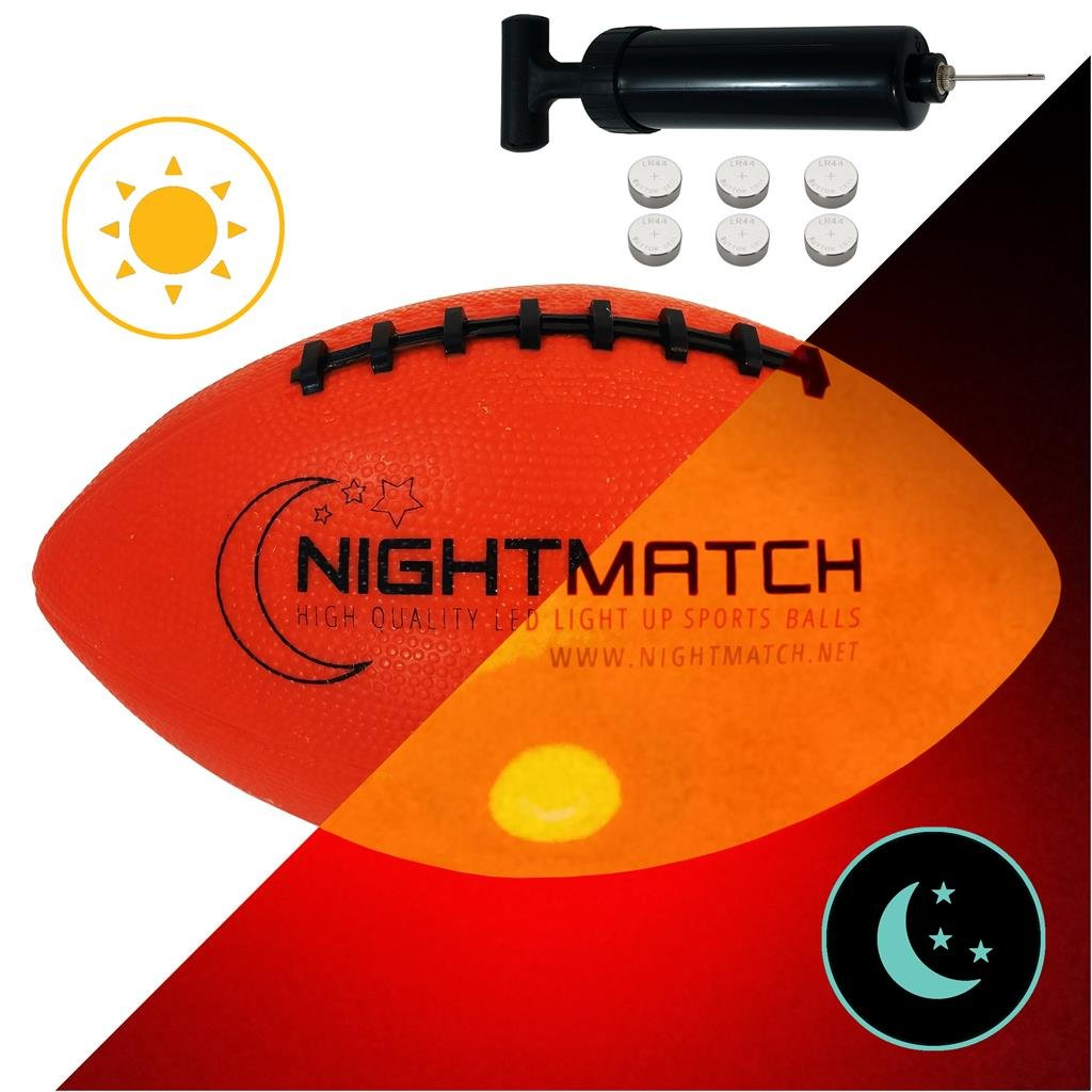 NightMatch Light up Football - INCL Ball Pump and Spare Batteries - Inside LED Lights up When Kicked - Glow in The Dark Football/Ballon de Futbol Américain - Size 6 - Official Size & Weight Amatopia Labels UG