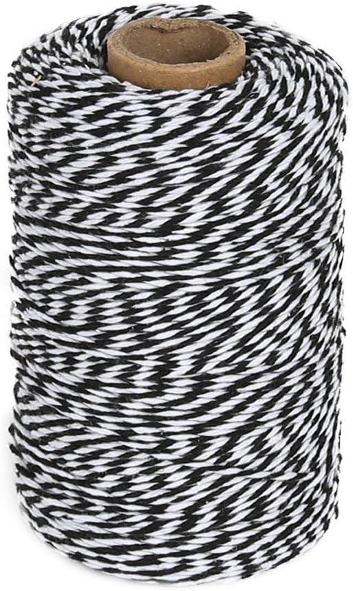 color negro y blanco Cordel de algod/ón Tenn Well de 200 m