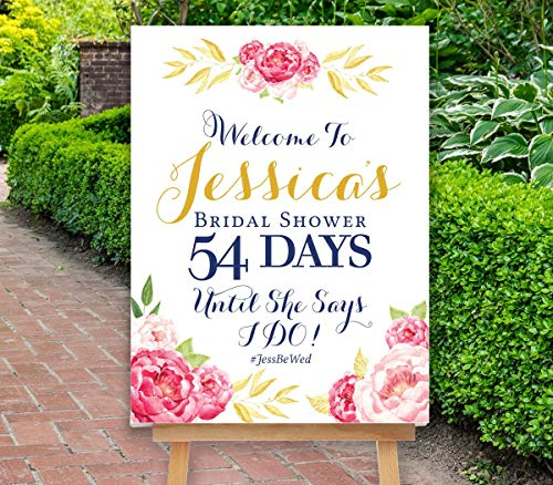 Stinson Collection - Dozili Bridal Shower Countdown Sign Bridal Shower Sign Reception Sign Floral Sign Boho Pink Gold Peonies Sign Pink Stinson Collection