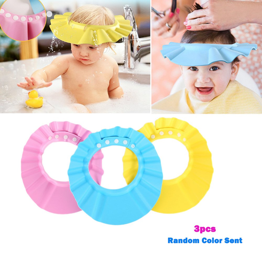 Sealive 3 Pack Baby Shower Cap Bath Shampoo Cap Hat Comfortable& Adjustable& Soft Shampoo Protection Shower Bathing Cap for Baby Kids Toddler Children(Random Color)