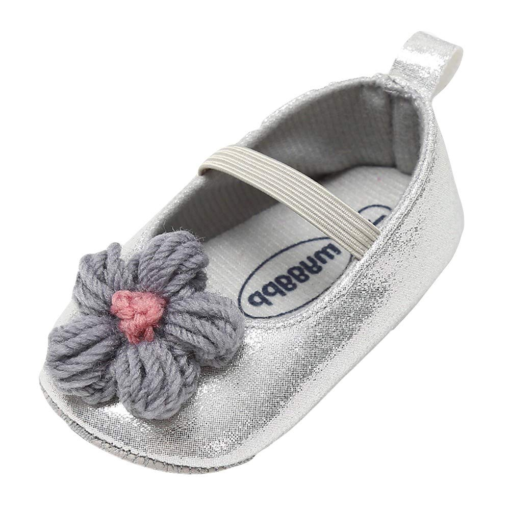 NUWFOR Baby Girl Leather Flower Shoes Keep Warm Fashion Toddler First Walkers Kid Shoe(Gray,12~18 Month)