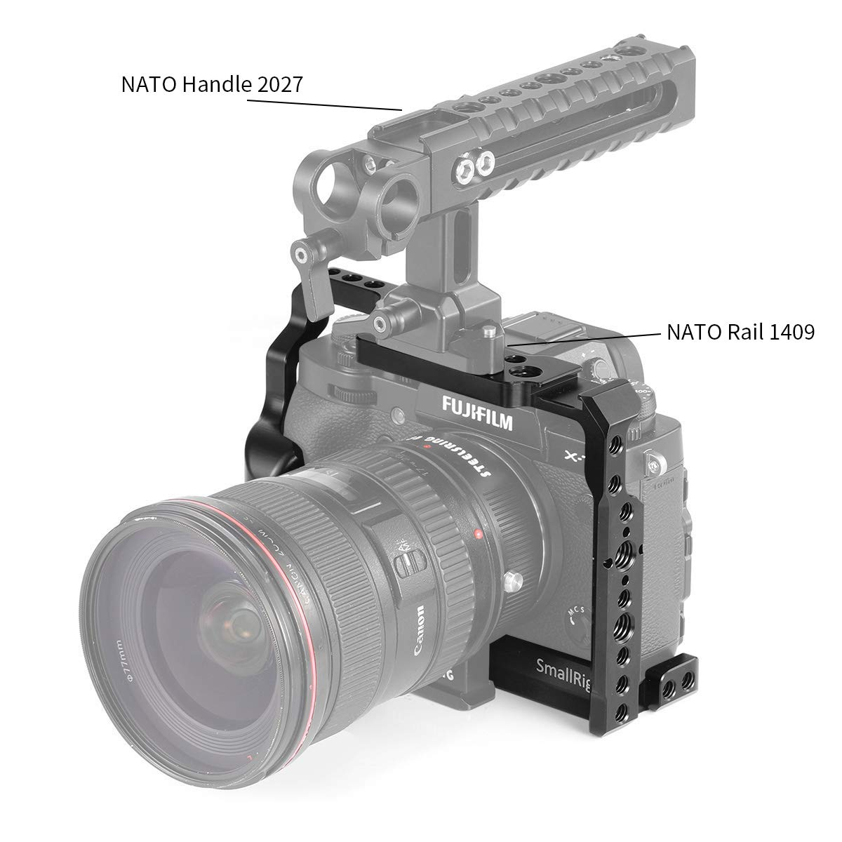 SMALLRIG Camera Cage for Fujifilm X-T3, Aluminum Alloy Cage with Cold Shoe, NATO Rail, Threaded Holes for Arri 3/8'',1/4''-20,3/8''-16 (2228) by SMALLRIG (Image #6)
