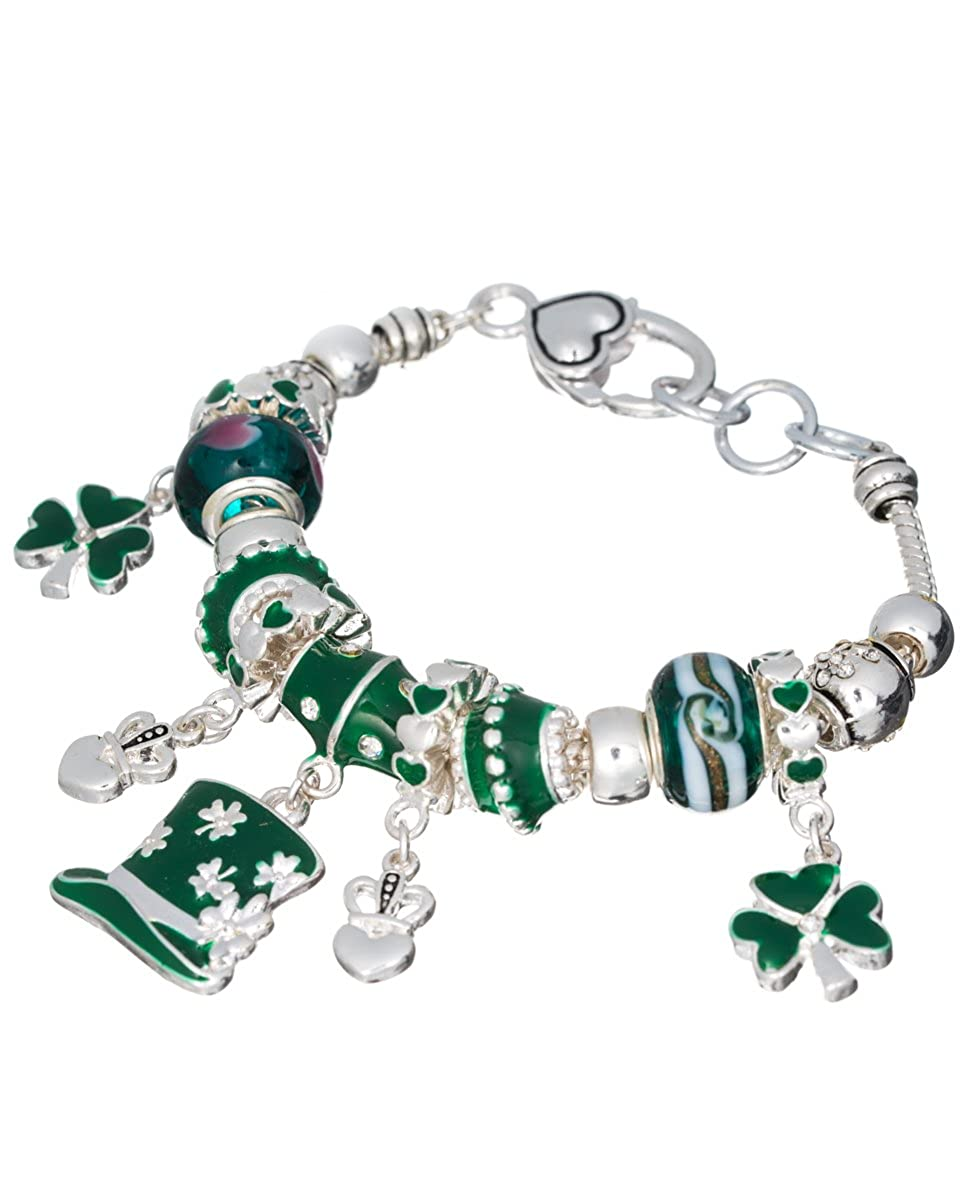 Jewelry Nexus Irish Theme St.Patricks Day Clover Green Multi Bead Charm Bracelet ob05049svgrn