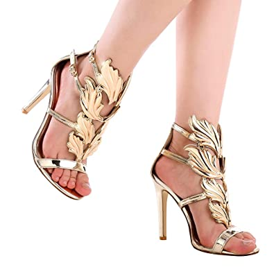1b67b889f Shoe N Tale Women s High Heel Gladiator Sandals Gold Flame Party Dress  Stiletto Shoes  Amazon.co.uk  Shoes   Bags