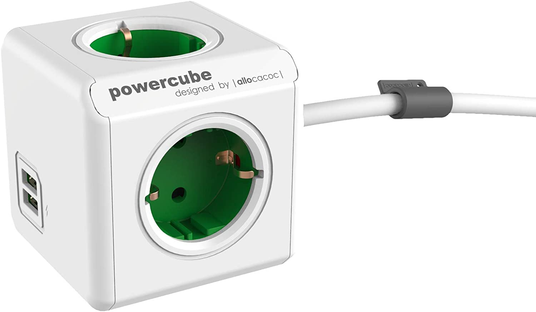 Powercube Duousb Extended De Green 4Way Socket 230V Schuko White Green