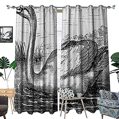 RenteriaDecor Sketch Room Darkening Wide Curtains Hand Drawn Swan on a Lake in The Forest Vintage Design Antique Illustration Customized Curtains W72 x L96 Black and White