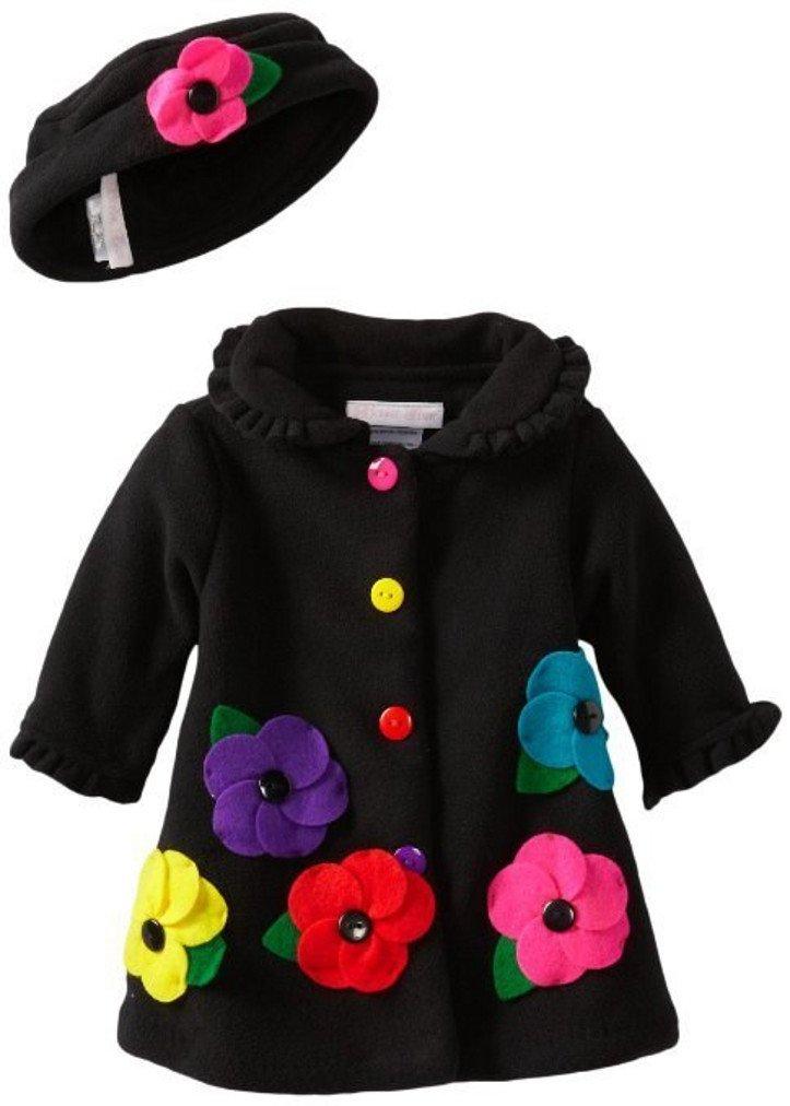 Black Fleece Flower Applique Coat with Matching Hat 4