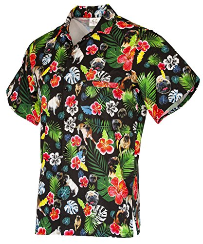 Funny Guy Mugs Mens Pug Hawaiian Print Button Down Short Sleeve Shirt, X-Large