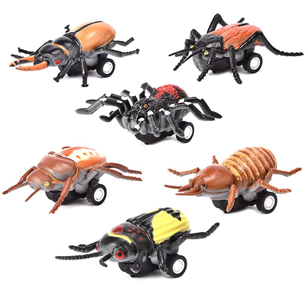 Sunnywill Jouets Fantaisie et Gadgets Modèle de Voiture, 6PCS Mini Véhicule Insecte à Tirer Voitures Cadeaux Créatifs pour Les Enfants