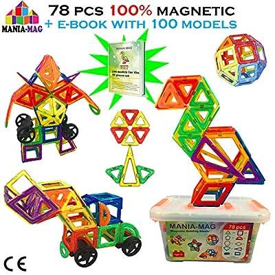 Blocchi Magnetici Costruzioni78 Pezzi Magnetici E Ebook 100 Modelli Piastrelle Xl Senza Lettere Con Scatola Di Plastica Di Stoccaggio Per Ragazzi E Ragazze Ottimo Regalo Per Natale E Compleanni