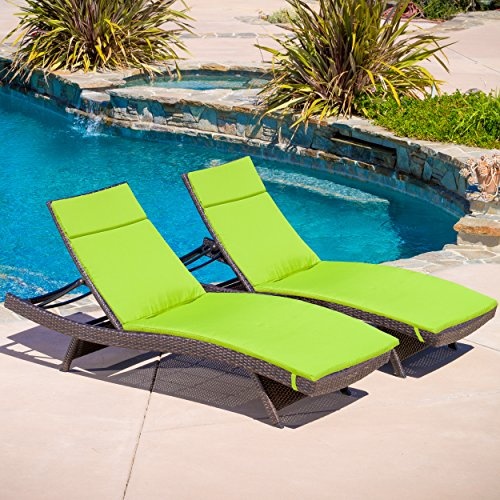 Christopher Knight Home 295117 Salem Patio Chaise Lounge, Multi-Brown/Bright Green - Green Patio Chaise Lounge
