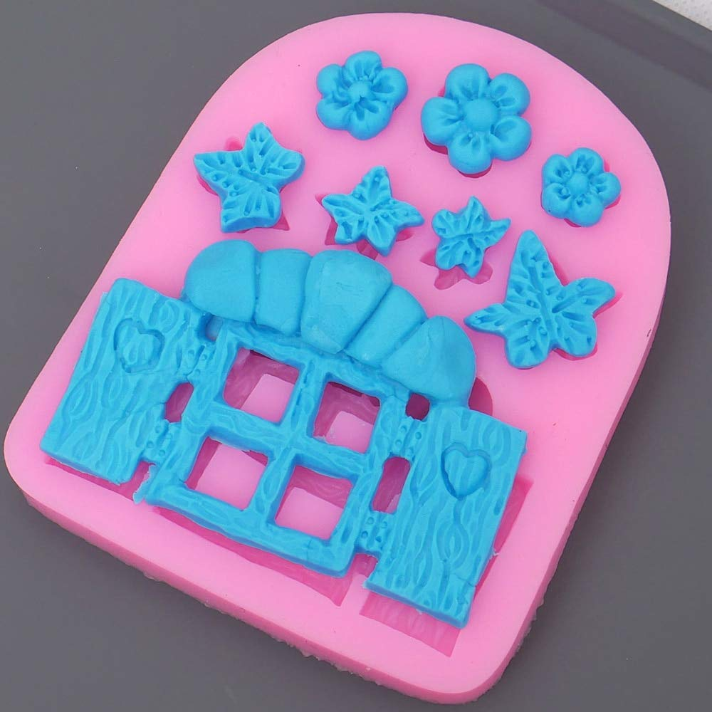 STORE-HOMER - DIY Fairy Garden Flower Window Silicone Chocolate Mold Fondant Cake Decorating Tools Fimo Clay Candy Molds Baking Tools