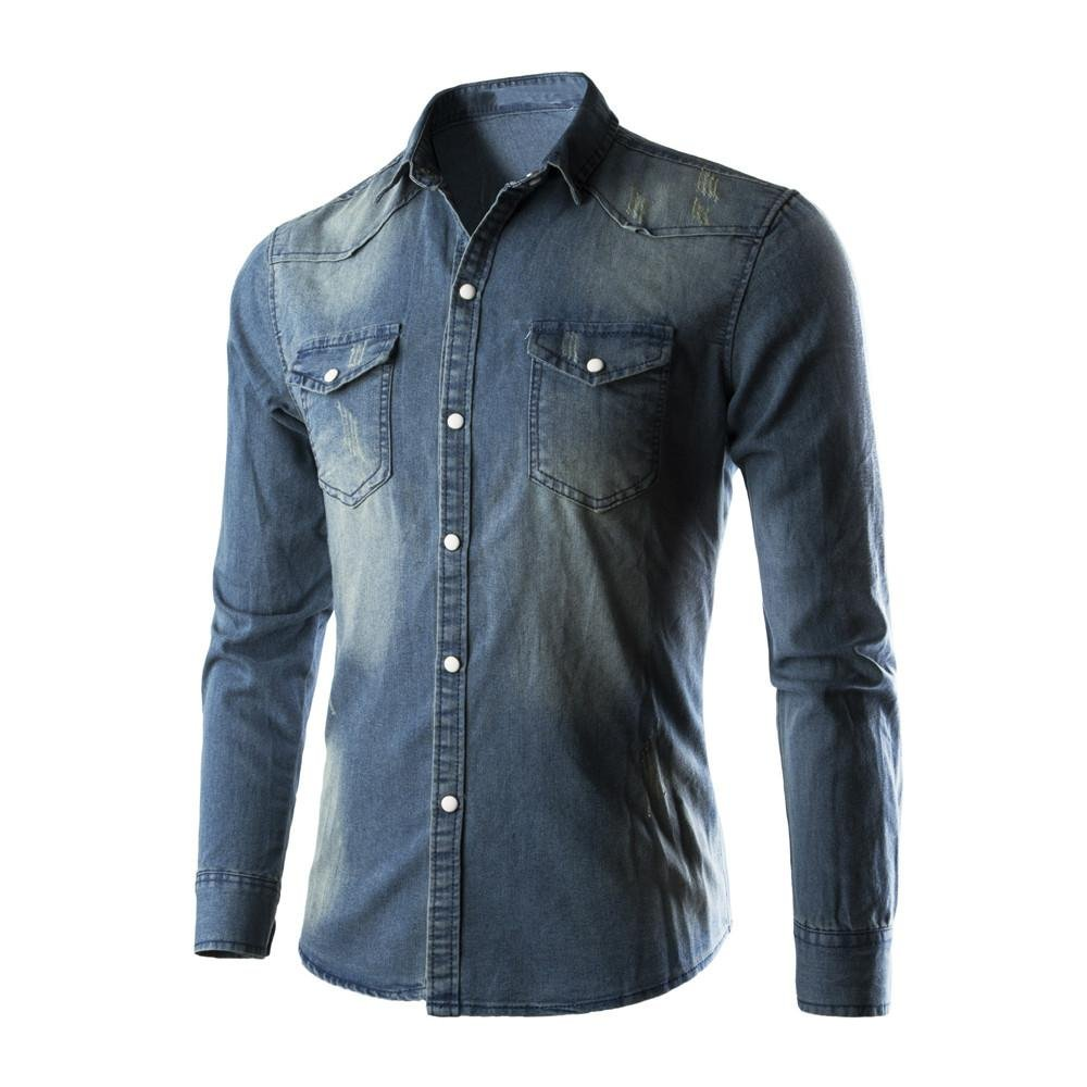 Han Shi Retro Denim Shirts, Mens Cowboy Blouse Casual Party Business Slim Thin Long Tops (2XL, Blue)