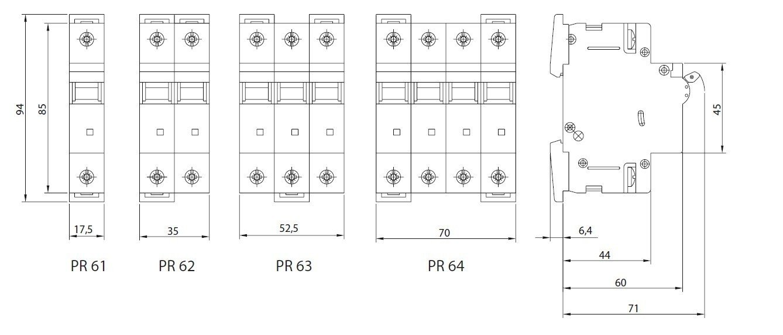 SEZ Leitungsschutzschalter B 16A 4P 3P+N 10kA VDE B16A Sicherungsautomat Sicherung PR64-B 16 0099709 SEZ 0913